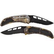 Camo Pocket Knife With Rubber Grip