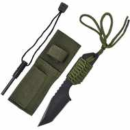 Small Black Tactical Knife With Sheath And Cord String