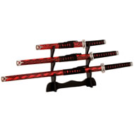 Red  Snakeskin  Samurai  Sword  Set  Of  3  With  Stand