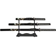 Set of three Katana Samurai Sword with Stand