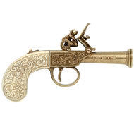 Flintlock Pocket Pistol - Ivory & Gold Finish
