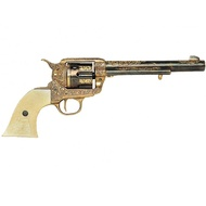 Engraved 1869 Colt Pistol With Ivory Handle And Long Barrel