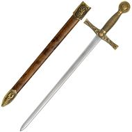 Brass Excalibur Sword Letter Opener with Scabbard
