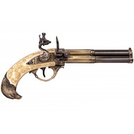 Gold Revolving 3 Barrel Flintlock Pistol, France 18Th. C.