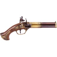 Gold And Brown Revolving 3 Barrel Flintlock Pistol, France 1