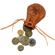 Leather  Bag  With  8  Coins