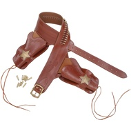 Western Leather Holster with Badges + Bullets