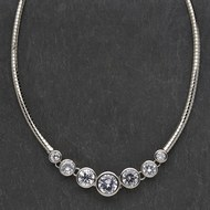 Seven  Stone  Clear  Crystal  Necklace
