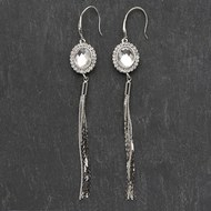 Silver  Tassel  Costume  Earrings