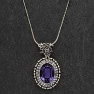 Ornate  Purple  Drop  Pendant  Necklace
