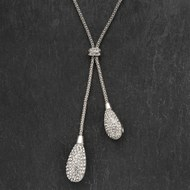Twin  Crystal  Cluster  Drop  With  Rope  Chain  Necklace