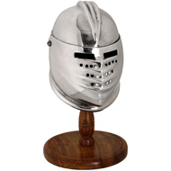 Miniature Maximilian helmet and stand