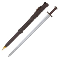 Battle Ready Long Bladed Viking Sword with Leather Scabbard