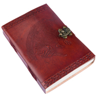Handmade Dragon Leather Bound Notebook with Leather Clasp