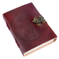 Tree Of Life Medieval Leather Notebook with Metal Clasp