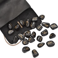 Runes Set with Black Leather Pouch